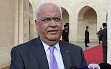 Saeb Erekat speaks to journalists after a meeting between Palestinian Authority President Mahmoud Abbas and Jordan's King Abdullah II, at the Royal Palace in Amman, Jordan, on January 29, 2018. (Khalil Mazraawi, Pool Photo via AP)