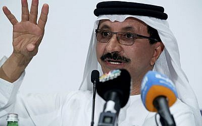 Sultan Ahmed bin Sulayem, the group chairman and CEO of Dubai-backed port operator DP World, gestures during a news conference in Dubai, United Arab Emirates, March 15, 2018.(AP Photo/Jon Gambrell)