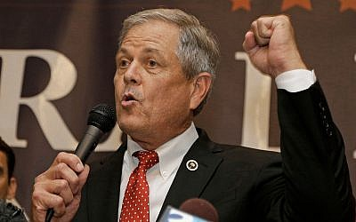 In this June 20, 2017, photo, Republican Ralph Norman speaks to supporters at a campaign party in Rock Hill, South Carolina., after winning South Carolina's 5th Congressional District. (AP Photo/Chuck Burton)