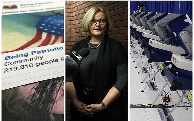 "This combination of 2017-2018 photos shows from left, a Facebook posting from a group named ""Being Patriotic"" attributed to Russian agents by the US House Intelligence Committee, Democratic Senator Claire McCaskill of Missouri whose campaign was targeted by Russian hackers and voting machines in Chicago after hackers found a way into the voter registration database at the Illinois State Board of Elections in mid-2016. (AP Photo/Jon Elswick, Jeff Roberson, Kiichiro Sato)"