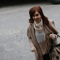 Argentina's former President Cristina Fernandez arrives to court in Buenos Aires, Argentina, Sept. 3, 2018  (AP Photo/Sebastian Pani)