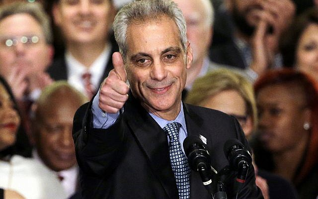 In this April 7, 2015, file photo, Chicago Mayor Rahm Emanuel celebrates at Plumbers Local 130 Union Hall in Chicago after winning in a runoff election for a second term in office. Emanuel, a Democratic congressman and chief of staff to President Barack Obama before becoming mayor in 2011, announced Tuesday, Sept. 4, 2018, that he won't seek a third term in 2019. (AP Photo/Nam Y. Huh,)