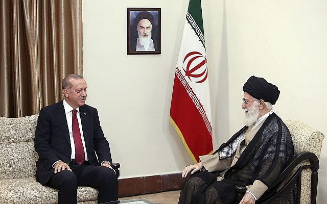 In this picture released by an official website of the office of the Iranian supreme leader, Supreme Leader Ayatollah Ali Khamenei, right, speaks with Russia's President Vladimir Putin, in Tehran, Iran, Sept. 7, 2018 (Office of the Iranian Supreme Leader via AP)