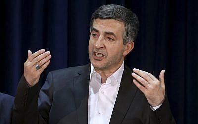 Esfandiar Rahim Mashaei, a close ally of former Iranian president Mahmoud Ahmadinejad, speaks during a press conference in Tehran, Iran, May 11, 2013. (Ebrahim Noroozi/AP)