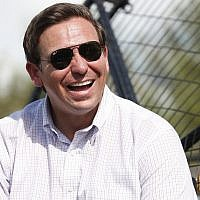 Republican candidate for Florida governor Ron DeSantis smiles during an airboat tour of the Florida Everglades, on September 12, 2018, in Fort Lauderdale, Florida. (AP Photo/Wilfredo Lee)