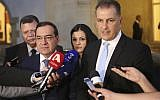 Cyprus' Energy Minister Georgios Lakkotrypis , right, with the Egyptian Oil Minister Tarek el-Molla, left, speak to the media after a meeting with Cyprus' president Nicos Anastasiades at the presidential palace in capital Nicosia, Cyprus, September 18, 2018 (AP Photo/Petros Karadjias)