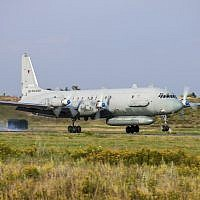 In this photo taken on July 6, 2015, an Il-20 electronic intelligence plane of the Russian air force takes off from an airfield near Rostov-on-Don, Russia. (AP Photo)