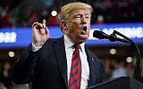 US President Donald Trump speaks during a campaign rally, Sept. 21, 2018, in Springfield, Missouri. (AP Photo/Evan Vucci)