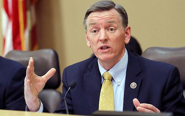 In this Dec. 2013, photo, US Representative Paul Gosar, Republican of Arizona, speaks during a Congressional Field Hearing on the Affordable Care Act in Apache Junction, Arizona (AP Photo/Matt York)
