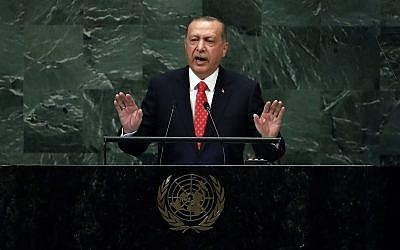 Turkey's President Recep Tayyip Erdogan addresses the 73rd session of the United Nations General Assembly, at UN headquarters, September 25, 2018. (AP Photo/Richard Drew)