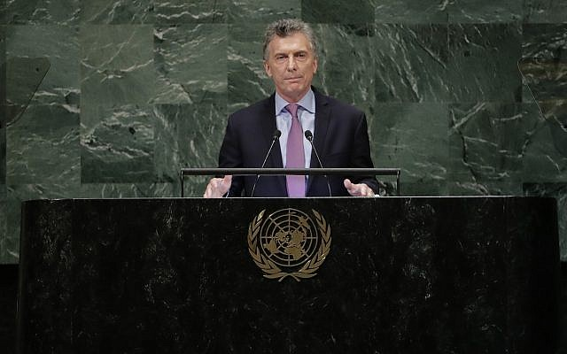 Argentina's President Mauricio Macri addresses the 73rd session of the United Nations General Assembly Tuesday, Sept. 25, 2018, at the United Nations headquarters. (AP Photo/Frank Franklin II)