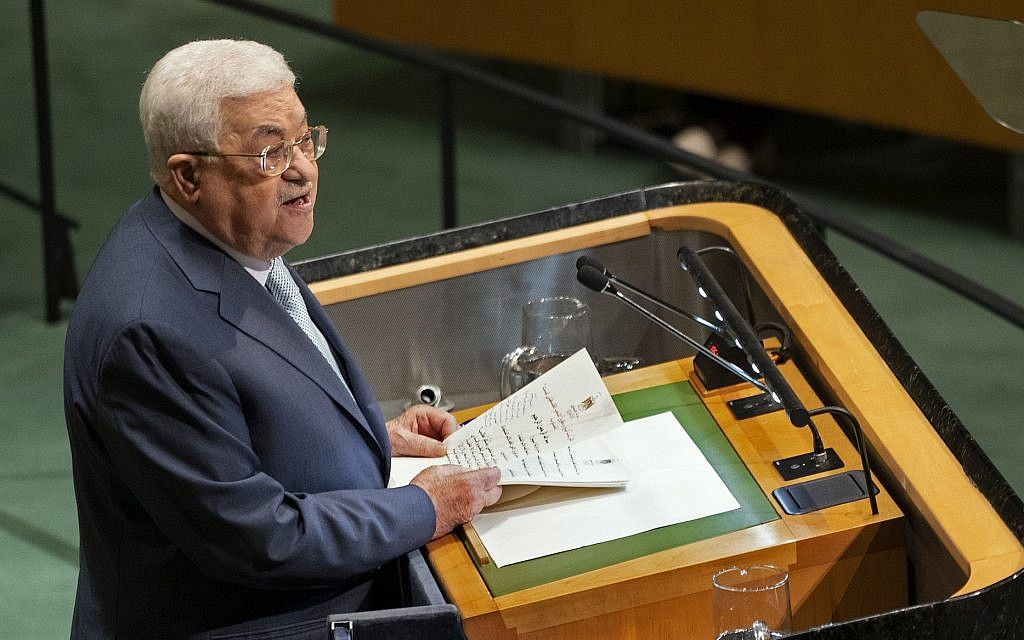 Palestinian Authority President Mahmoud Abbas addresses the 73rd session of the United Nations General Assembly, at UN headquarters, Thursday, September 27, 2018 (AP Photo/Craig Ruttle)