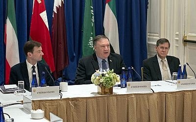 Secretary of State Mike Pompeo, center, speaks during a meeting of the Gulf Cooperation Council Friday, September 28, 2018, in New York. (AP Photo/Craig Ruttle)