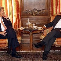In this April 27, 2015 file photo, Secretary of State John Kerry meets with Iran's Foreign Minister Mohammad Javad Zarif in New York. (AP Photo/Jason DeCrow, File-Pool)