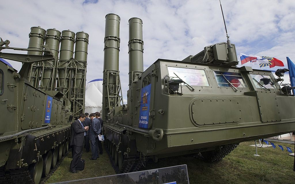In this illustrative photo taken on August 27, 2013, a Russian S-300 air defense system is on display at the opening of the MAKS Air Show in Zhukovsky outside Moscow, Russia (AP Photo/Ivan Sekretarev, File)