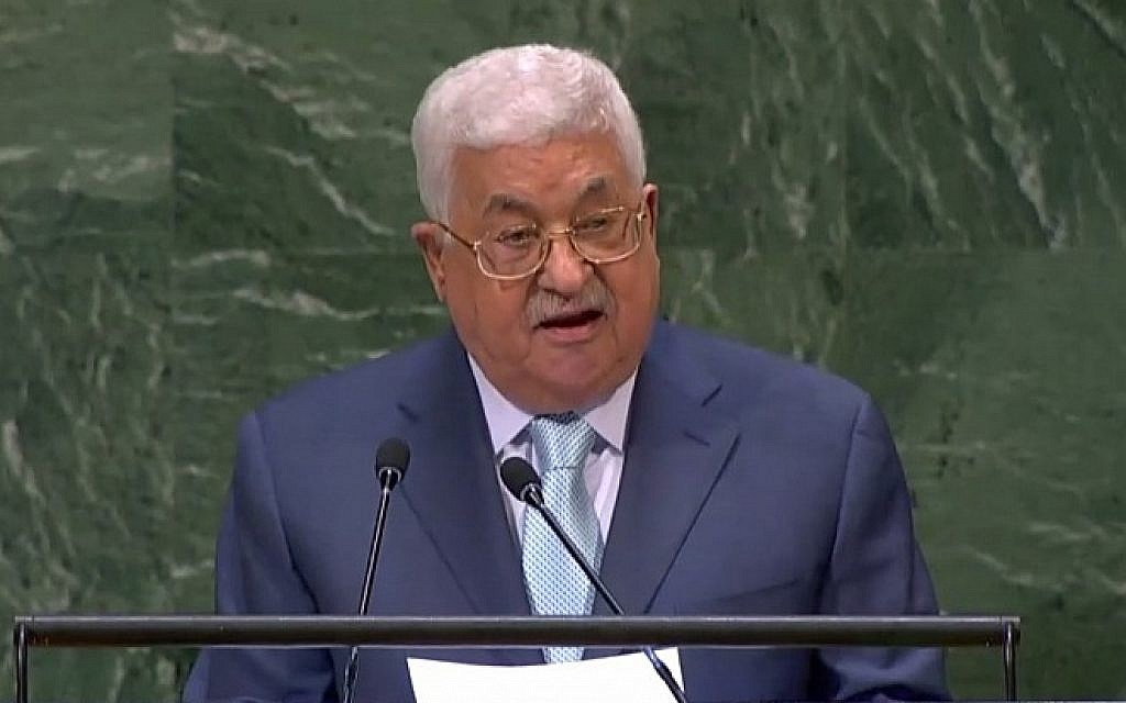 Screen capture from video of Palestinian Authority President Mahmoud Abbas speaking at the 73rd United Nations General Assembly, September 27, 2018. (United Nations)