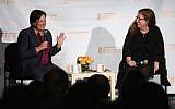Supreme Court Justice Elena Kagan, left, speaking with journalist Dahlia Lithwick at the Hannah Senesh Community Day School in Brooklyn, September 12, 2018. (Matthew Sussman for Hannah Senesh Community Day School via JTA)