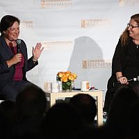 Supreme Court Justice Elena Kagan, left, speaking with journalist Dahlia Lithwick at the Hannah Senesh Community Day School in Brooklyn, September 12, 2018. (Matthew Sussman for Hannah Senesh Community Day School via JTA)