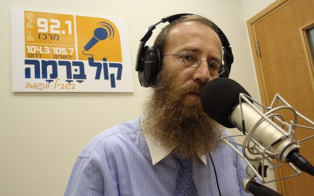 Dudi Shumenfeld of the ultra-Orthodox radio station Kol Berama on July 01, 2009. Yaakov Naumi/Flash90)