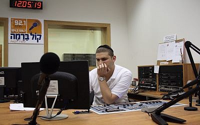 The broadcasting studio of the ultra-Orthodox radio station Kol Barama, July 1, 2009. (Yaakov Naumi/Flash90)
