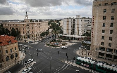 View of Jerusalem's Paris Square, the intersection of Agron, King George, Ramban, and Azza streets (Hadas Parush/Flash90)