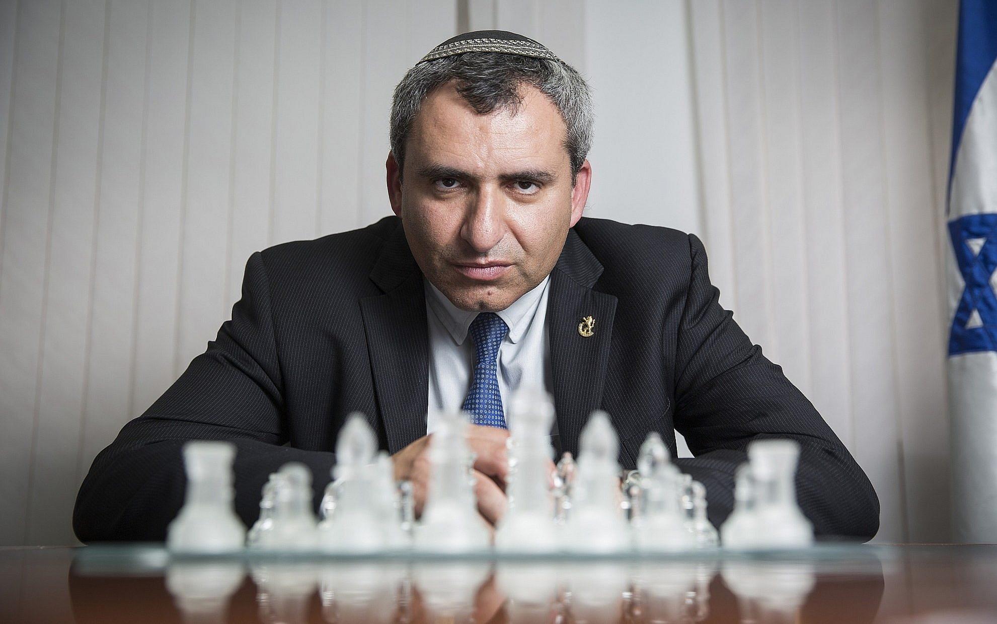Ze'ev Elkin in his office on May 2, 2016. (Hadas Parush/Flash90)