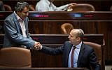 Education Minister Naftali Bennett shakes hands with Minister Zeev Elkin in the Knesset on December 7, 2016. (Hadas Parush/Flash90)