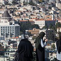 Arab Israeli women seen near the northern city of Nazareth on December 9, 2017 (Nati Shohat/Flash90)