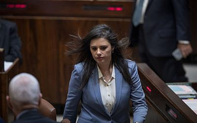 Justice Minister Ayelet Shaked at a Knesset plenary session, March 13, 2018. (Hadas Parush/Flash90)