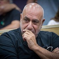 Former Jerusalem District Commander, Nissan 'Niso' Shaham, sits at the courtroom of the Tel Aviv District court on April 24, 2018, as he arrives to hear his verdict. (Miriam Alster/Flash90)