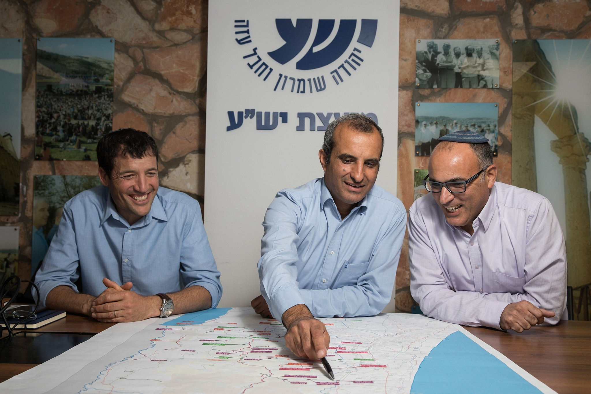 Yesha Council leaders Shilo Adler, Hananel Dorani and Yigal Dilmoni (right), pictured on May 9, 2018. (Flash90)