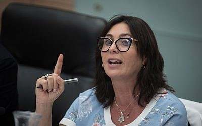Culture and Sports Minister Miri Regev, attends a Culture, Sports and Eductaion Committee meeting at the Knesset, on July 2, 2018. (Hadas Parush/Flash90)