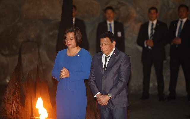 President of the Philippines Rodrigo Duterte, visits the Yad Vashem Holocaust memorial in Jerusalem on September 3, 2018. (Hadas Parush/Flash90)