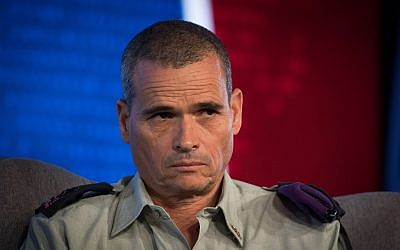 Major General Yoel Strick, Commander of the Northern Command, at a conference of the Israeli Television News Company in the Jerusalem International Convention Center (ICC) on September 3, 2018. (Yonatan Sindel/Flash90)