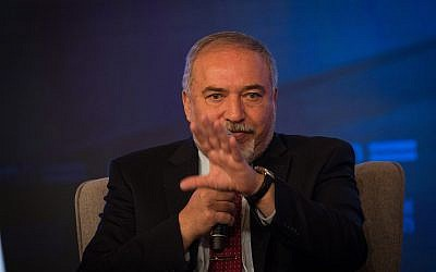 Defense Minister Avigdor Liberman speaks in the Jerusalem International Convention Center (ICC) on September 3, 2018. (Yonatan Sindel/Flash90)