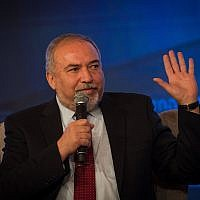 Defense Minister Avigdor Liberman speaks during a conference at the International Convention Center in Jerusalem on September 3, 2018. (Yonatan Sindel/Flash90)