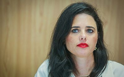 Justice Minister Ayelet Shaked speaks at a press conference in Tel Aviv, on September 5, 2018. (Flash90)