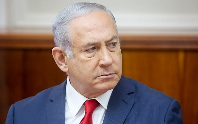 Prime Minister Benjamin Netanyahu leads the weekly cabinet meeting, at the Prime Minister's Office in Jerusalem, September 16, 2018. (Marc Israel Sellem/Flash90)