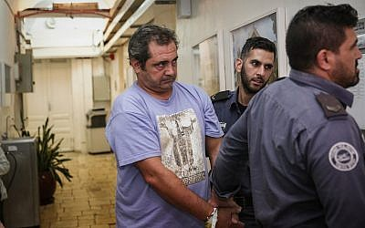 Spanish journalist Julio de la Guardia is brought to the Jerusalem Magistrate's Court under suspicion of involvement in a fatal hit-and-run collision in Jerusalem, on September 24, 2018. (Flash90)