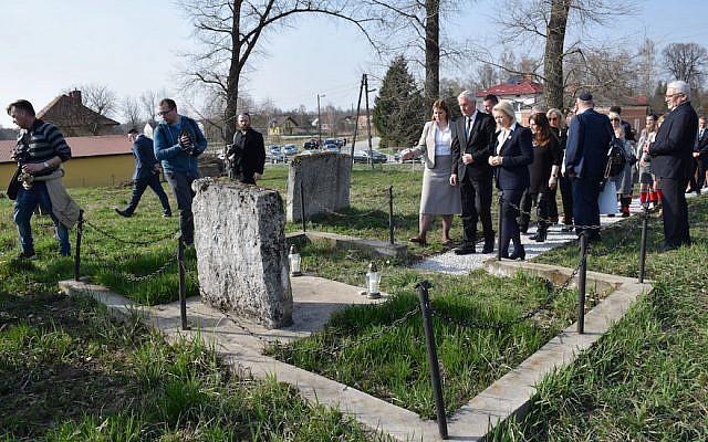 A ceremony at a Jewish cemetery in Frampol, Poland. (ESJF via JTA)