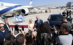 Prime Minister Benjamin Netanyahu speaks to reporters at Ben Gurion Airport on September 25, 2018, before boarding a flight to New York for the United Nations General Assembly. (Avi Ohayun/GPO)