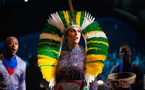Nicolette Mavroleon appears in 'Hatuey: Memory of Fire,' a chamber opera about a Yiddish poet and his obsession with an indigenous Cuban freedom fighter. (Maria Baranova/via JTA)