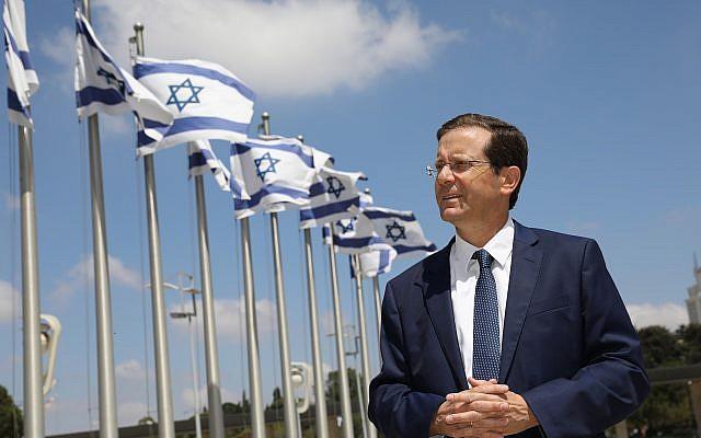 Illustrative: Isaac Herzog outside the Knesset (Courtesy)