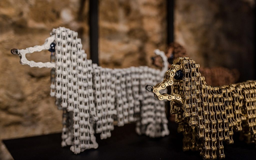 Two of Nirit Levav Packer's Afghan dogs, welded from many sets of bicycle chains (Courtesy Nirit Levav Packer Art Gallery)