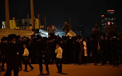 Ultra-Orthodox protesters block a road in Bnei Brak on Septermber 21, 2018 to protest against construction work on Shabbat (Police spokesperson)
