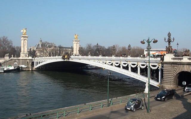 Screen capture from video of the Alexander III bridge, Paris. (YouTube)