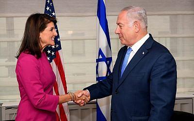 Prime Minister Benjamin Netanyahu meets US Ambassador to the UN Nikki Haly on Friday, 28 September 2018 in New York. (Avi Ohayon /GPO)