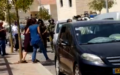 Security forces search the Tekoa settlement after a Palestinian man attempted to attack an Israeli man nearby on September 2, 2018. (Screen capture)