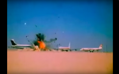 Hijacked aircraft being blown up at Dawson Field, Jordan, in front of international press on 12 September 1970.