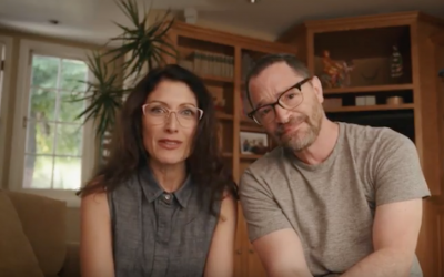"Lisa Edelstein and Joshua Malina star in the launch video for Hillel International's ""MitzVote"" campaign. (YouTube screenshot via JTA)"